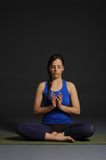 Young beautiful healthy yoga woman instructor doing yoga in photo studio. Royalty Free Stock Images
