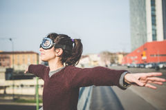 Young beautiful hipster woman success Royalty Free Stock Image