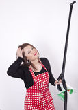 Young beautiful housewife cleaning. Stock Photography
