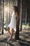 Young beautiful Indian woman in forest wearing white Royalty Free Stock Image