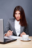 Young beautiful lady. A pretty concentrated woman working with her laptop and papers. Sitting at her office royalty free stock images