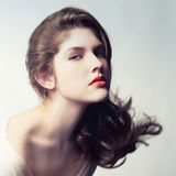 Young beautiful lady. Photo of young beautiful lady with magnificent dark hair Stock Photo