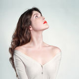 Young beautiful lady. Photo of beautiful lady with long slim neck Stock Images