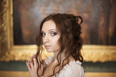 Young beautiful lady. Romantic portrait of young beautiful lady in palace Stock Photography