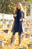 Young beautiful lady in an autumn park royalty free stock image