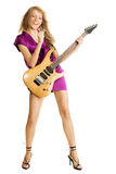 Young beautiful lady with electric guitar Stock Photography