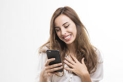 Young Beautiful Lady Satisfied Receiving A Message Stock Image