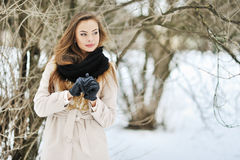 Young beautiful lady in a wintertime - outdoors Stock Image