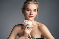 Free Young Beautiful Lady With Rose Stock Photography - 105478822