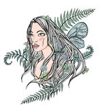 Young beautiful longhaired woman among the plants, trees and flowers. cute female face, symbol of spring, mother nature royalty free illustration