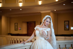 Young beautiful luxurious woman in wedding dress posing in luxurious interior. Bride with huge wedding dress in majestic manor Stock Photo