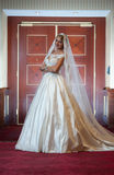 Young beautiful luxurious woman in wedding dress posing in luxurious interior. Gorgeous elegant bride with long veil. Full length Royalty Free Stock Photos