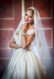 Young beautiful luxurious woman in wedding dress posing in luxurious interior. Gorgeous elegant bride with long veil. Full length Stock Images