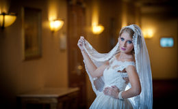 Young beautiful luxurious woman in wedding dress posing in luxurious interior. Gorgeous elegant bride with long veil. Seductive. Blonde bride with fashionable Stock Image