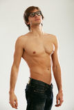 Young beautiful man with naked torso Royalty Free Stock Images