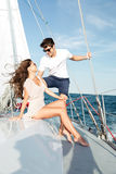 Young beautiful married couple relaxing on the yacht Royalty Free Stock Images