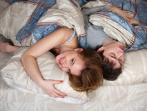 Beautiful man and the woman sleep Royalty Free Stock Photos