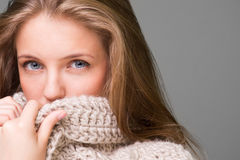 Young beautiful model posing, studio shot. Young beautiful model posing on grey background, studio shot Royalty Free Stock Images