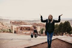 Young Beautiful Modern Caucasian Woman Smiling While Traveling to Red Rocks Park in United States Outside in Nature at Park stock photos