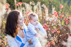 Young beautiful mother and her baby in sunny park Stock Photo