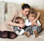 Young beautiful mother with her daughter and son Royalty Free Stock Photography
