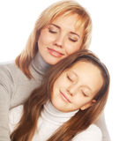 Young beautiful mother and her little daughter Stock Images