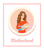 Young beautiful mother holding sleeping baby. Love and happiness concept. Motherhood -  card. Royalty Free Stock Images