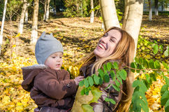 Young beautiful mother playing with her daughter, who is biting mother's nose, in the autumn park among the yellow fallen maple le stock photo