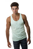 Young beautiful and muscular man model outfit Stock Photos