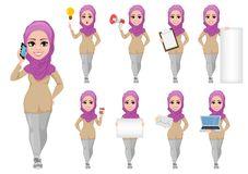 Young beautiful Muslim businesswoman in casual clothes. Set Stock Image