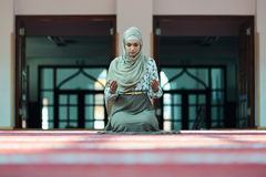 Young beautiful Muslim Woman Praying In Mosque.  Stock Photography