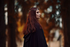 Young beautiful and mysterious woman in woods, in black cloak with hood, image of forest elf or witch Royalty Free Stock Photos