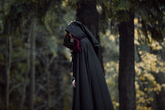 Young beautiful and mysterious woman in woods, in black cloak with hood, image of forest elf or witch Stock Photography