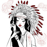 Young beautiful native american woman Stock Images