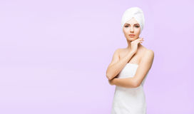 Young, beautiful and natural woman in towel. Spa concept with copyspace. stock images
