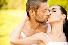 Young beautiful pair kisses Stock Photo