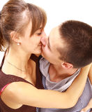 Young beautiful pair kisses Royalty Free Stock Images