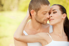 Young beautiful pair kisses Stock Photography