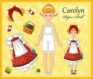 Free Young Beautiful Paper Doll Girl With A Set No 3 Of Clothes For Her Stock Images - 98551774