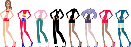 Young beautiful paper dolls with clothes set Stock Photos