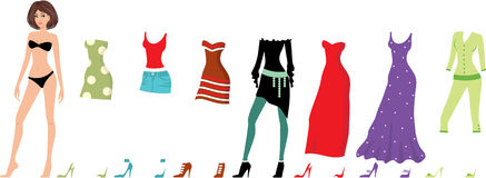 Young beautiful paper dolls with clothes set Stock Images