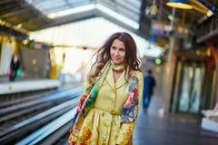 Young beautiful Parisian woman in subway Royalty Free Stock Photography