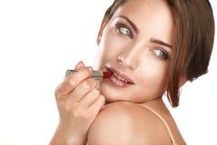 Young beautiful perfect model applying professional makeup Stock Image