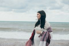 Young beautiful pragnant woman posing near sea at the beach Royalty Free Stock Images
