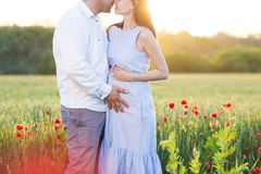 Young beautiful pregnant couple in poppy field Royalty Free Stock Photo