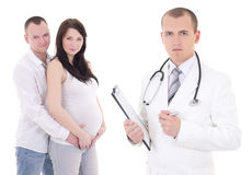 Young beautiful pregnant woman with her husband and gynecologist Royalty Free Stock Photography