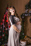 Young beautiful pregnant woman in a long  dress near new year tr Royalty Free Stock Photo