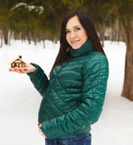 Young beautiful pregnant woman in a winter day Royalty Free Stock Images