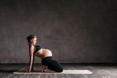 Young beautiful pregnant yoga posing in studio. Young beautiful prentant woman is posing in studio stock photo