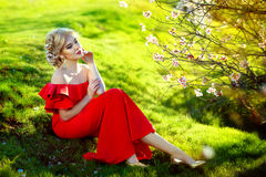 Young beautiful pretty girl in red dress sitting on green grass near bushes of spring in blossom. Beautiful girl in red ball dress among the flowers in the Stock Photos